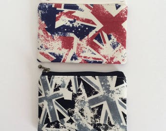 SALE Mini zipper pouch  - random Union Jack (2 colours)