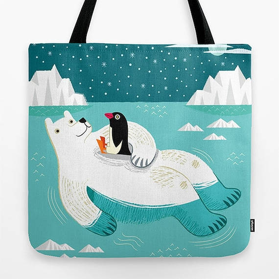 "Hitching A Ride - Light Blue - Cute Childrens Tote Bag - Book Bag - 18"" x 18"""