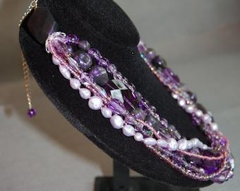 Purple Rain Beaded Necklace