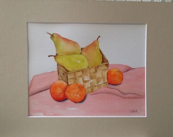 Original watercolor still life painting pears and oranges on cloth matted and signed