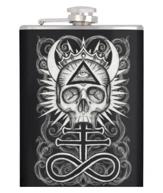 Illuminati Skull alcohol hip flask