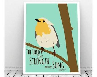 Scripture Art, Scripture Download, Exodus 15:2, Printable Scripture Art, Scripture Art Print, Music Art, Bird Art, Bird Artwork