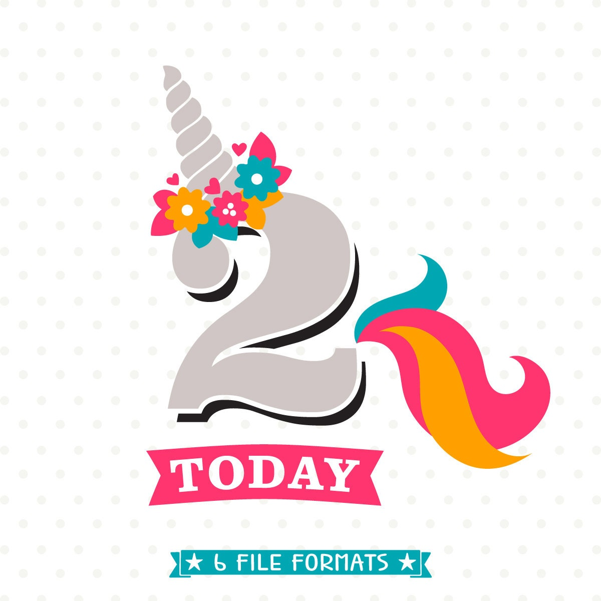 Unicorn Birthday SVG 2nd Birthday SVG Birthday Iron On File