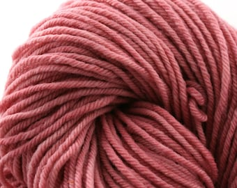 Hand Dyed Aran weight mini Empire Rambouillet Wool 213 yds 4oz Rosy