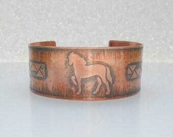 Pferd Manschette Armband Pferde Kupfer Schmuck Unisex Armband westlichen Schmuck Unisex Schmuck