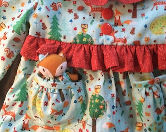 Deer Little Friends Top or Dress with Pocket Fox size 1T