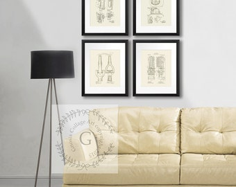 Firefighter decor set of 4 unframed Cream wall Art. Fire Department Decor Fireman gift. Helmet Truck Hose Extinguisher. firefighter gifts