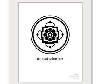ART PRINT Om Mani Padme Hum Mandala - inspirational art, Buddhist art, black and white poster, spiritual art, indian art, printable art