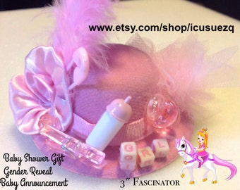 Whimsical Baby Shower Gift/Baby Girl/Gender Reveal/Its a Girl/Baby Announcement/Pink Hat Fascinator/Mommy to Be/Hair Clip/Mom to Be