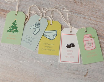 Minimal and Hilarious Christmas Gift Tags pack of 5