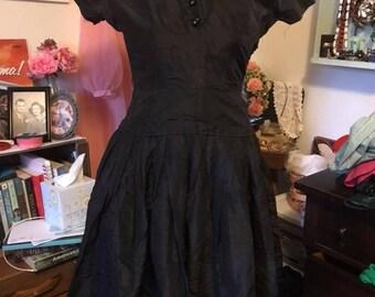 1950's Larry Aldrich of New York LBD || Black taffeta button detail classic drop waist full skirt dress