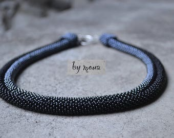 Back and grey sad bead tube necklace