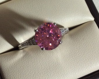 Pink Topaz ring, size 6, 7, 8 set in solid Sterling silver
