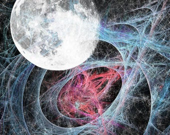 Moon Stars Space Galaxy  Abstract - Fine Art Photograph Print Picture