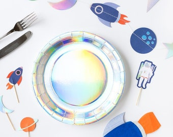Rocket Planet Plates Holographic Foil Paper Plates Moon Astronaut Rocket Ship Outer Space Birthday