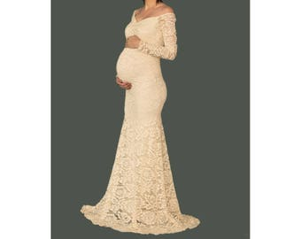 Maternity Dress for Photo Shoot-Lace Maternity Gown-Maternity Photo Shoot Dress-Long Sleeves Maternity Dress for Baby Shower-ERICA