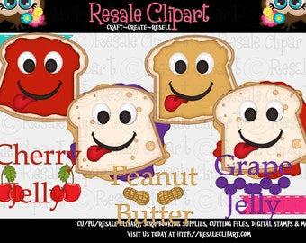 Fun Faces PBJ Peanut Butter and Jelly 1 Clipart (Digital Download ZIP)