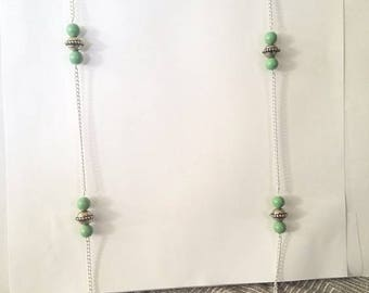 Beaded green statement necklace