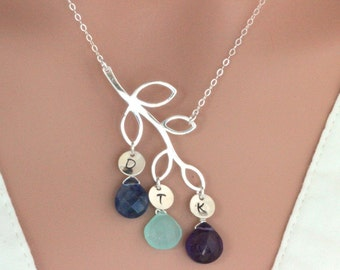 Personalize Mothers Day gift for grandma - family tree necklace- Mothers Birthstone Necklace - Grandma Necklace - Nana Gift - mom jewelry