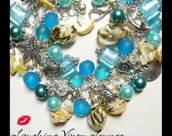 Ocean Jewelry - Ocean Bracelet - Ocean Necklace - Sea Jewelry - Ocean Blue Full Charm Bracelet - Sea Bracelet - Sea Necklace