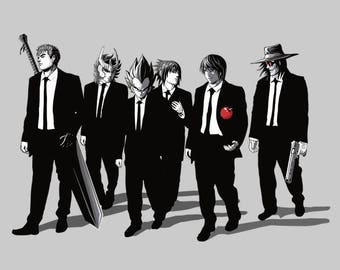 Anime Bad Dogs Tee /   Anti-heroes from Anime/ Reservoir Dogs T-shirt / Berserk, Kira, Alucard, Naruto, Ikki/ Free Shipping worldwide.