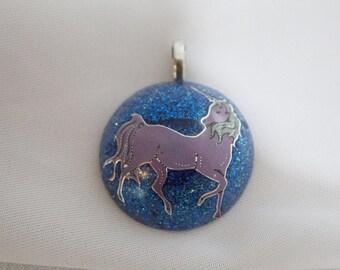 Midnight - Unicorn Resin Pendant