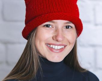 Red winter hat Red winter beanie Red beanie women Red hat women Animal beanie Cat beanie hat Beanie hat women Winter hats women Cat beanie