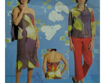 Donna Karan Strapless Dress Pattern, Sundress, Bias Shirt, Tapered Pants, Contour Waist, Vogue American Designer 2552 Size 8 10 12