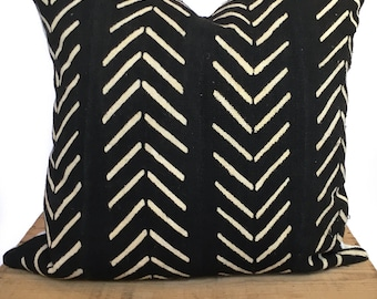 Catherine Black and White African Mud Cloth Pillow Cover 20x20 Inch Mudcloth Pillow