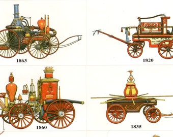 2 Sticker Sheets - 8 Different Vintage American Fire Engines per Sheet (Embossed) - Fire Truck - Firematic - Firefighter - Fireman