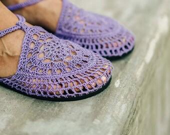 Lavender - Mary Jane Crochet Shoes made with Hemp Yarn