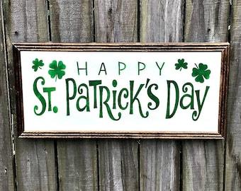 Happy St. Patrick's Day - Irish Decor - St. Patricks Day Decor - Handmade Wood Sign - Hand Painted Irish Decor - Irish Holiday Sign