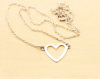 Silver Cutout Heart Charm Necklace