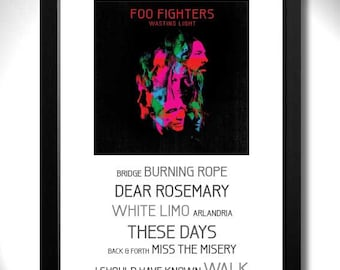 FOO FIGHTERS - Wasting Light Album Limited Edition Unframed A4 Art Print with Song Titles