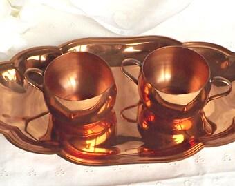 Copper Creamer and Sugar Bowl, Vintage Copper Creamer/Sugar Bowl Set, Copper Craze, Vintage Kitchen, Retro Copper Creamer/Sugar Bowl w/Tray