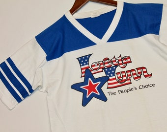 M * vtg 80s Loretta Lynn t shirt jersey * 20.126