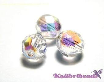 Fire polished Czech Glass Beads 8 mm - Crystal AB