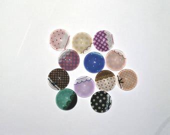 Set of 12 cabochon 12 mm lace 02