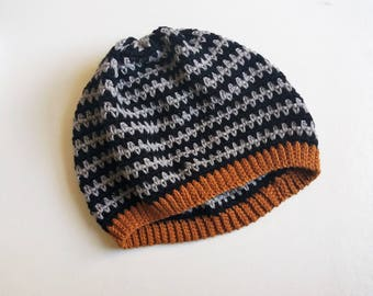 Granite Stitch Hat - Pure Cotton Crochet Beanie Hat - Ready to Ship