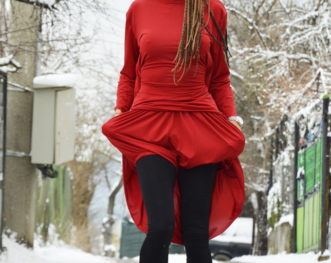 Women Plus Size Clothing Set, Red Loose Casual Shorts, Drop Crotch Pants, Handmade Maxi Tunic by SSDfashion
