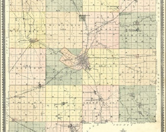 Poster, Many Sizes Available; Map Of Genesee County, Flint Michigan 1889