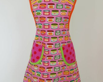 Retro style woman's cotton apron cat food cans pink orange yellow blue medium/large