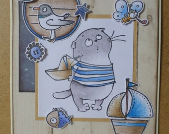 Happy birthday nautical sailor cat Ticket card blue