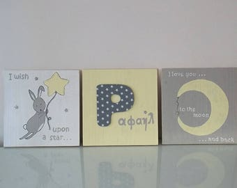 Christmas Gift Idea, New Baby Boy Nursery Decor, Rabbit Wood Art, Yellow and Gray Wall Art, Set of 3 Frames,  Baby Boy Gift, Shower Gift