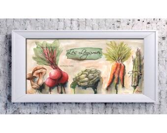 French Food Poster, French Artwork, Kitchen Print, French KitchenDecor, Kitchen Art, Asparagus, Artichoke, Carrots, Les Legumes French Art