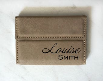 Custom Engraved Leather Business Card Case, Personalized Card Holder, Corporate Gifts, Boss Gift, Fathers Day Gift, Groomsmen Gifts