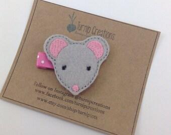 Mouse Hair Clip gray Mouse Felt Hair Clip Feltie Hairclip