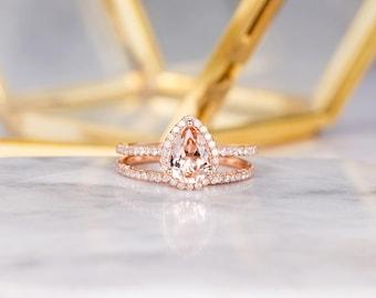Rose Gold Morganite Engagement Ring Set Bridal Set Pear Shaped Stacking Halo Diamond Women Half Eternity Wedding Anniversary Gift For Her