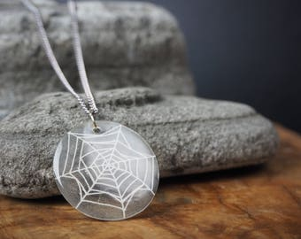SALE!! Illustrated Spiderweb Necklace