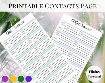 Filofax Personal Inserts, Printable Contact Page, Printable Planner Pages, Planner Contact Page, Printable Inserts, Address Book